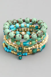 Multi Stone Bead Bracelet Set