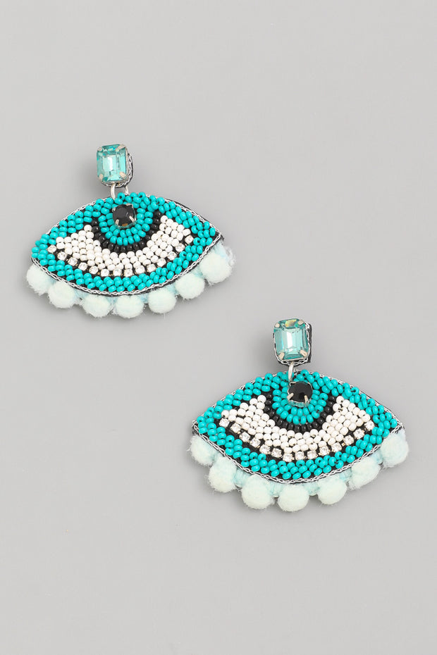 Blue Beaded Eye Earrings