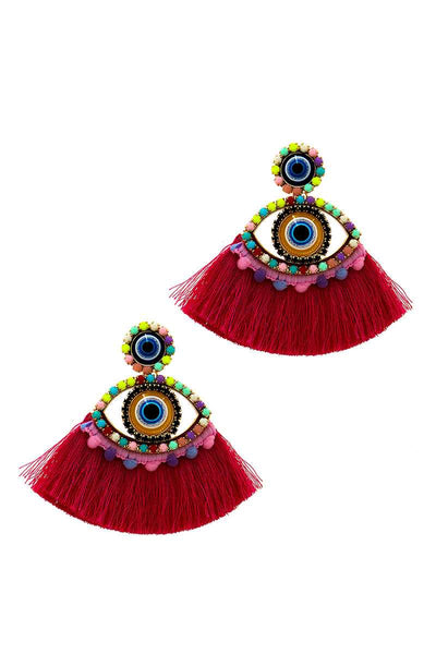 Pink Stylish Eye And Fan Tassel Earring
