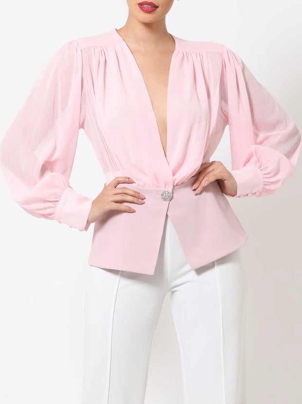 Pink Alexandra Button Top