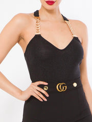 Gold Chain Trim Bodysuit Top