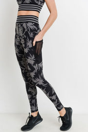 Highwaist Striped Band Tropical Silhouette Print Leggings