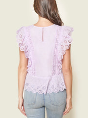 Dollie Eyelet Peplum Top Color