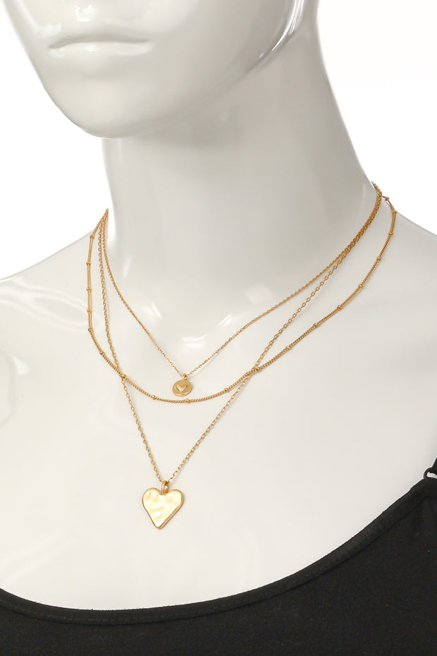 Dainty Layered Heart Pendant Necklace