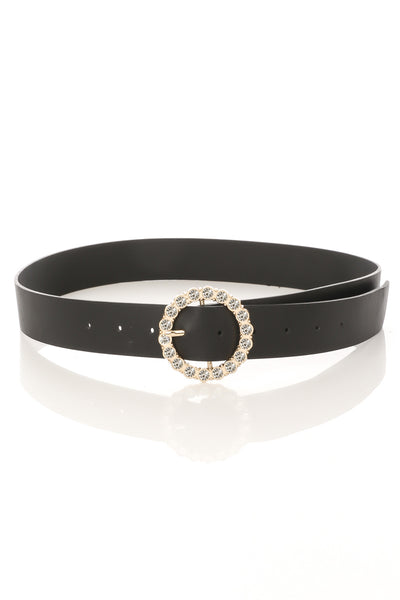 Black Circle Rhinestone Buckle Belt