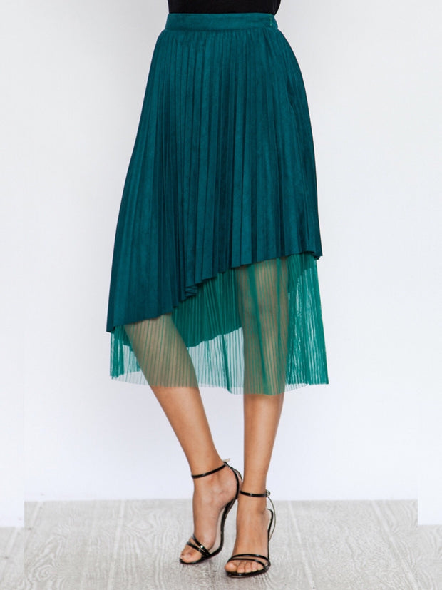 Faux Suede Pleated Skirt