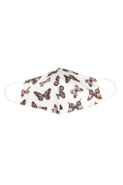 Kids White Butterfly Print Face Mask