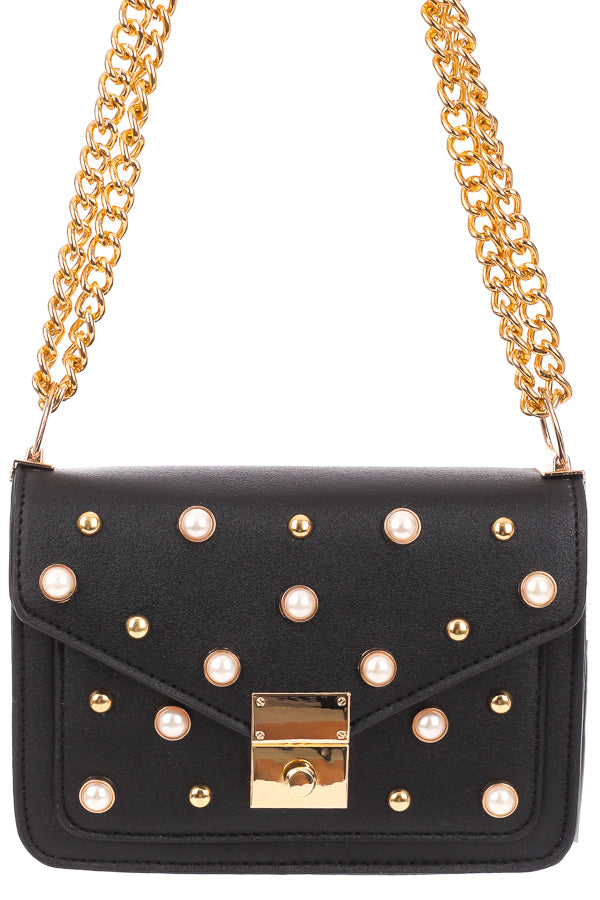 Black  Pearl & Stud Chain Handbag