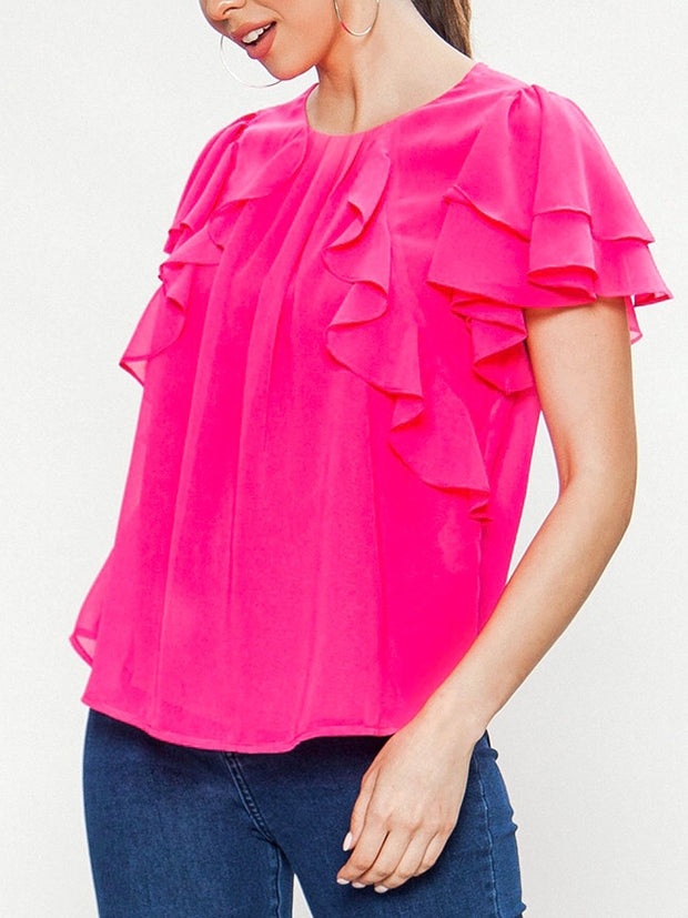 Hot Pink Semi Sheer Top