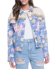 Flor Denim Print Jacket