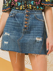 Distressed Denim Skirt Bottoms