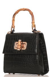 Faux Alligator Skin Square Bag