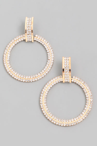 Gold Rhinestone Hoop Drop Earrings