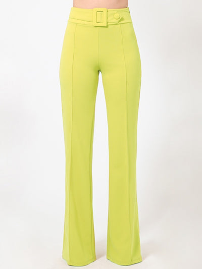 Lime Rectangle Buckle & Button Bottoms