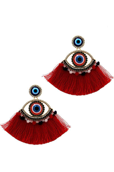 Red Stylish Eye And Fan Tassel Earring