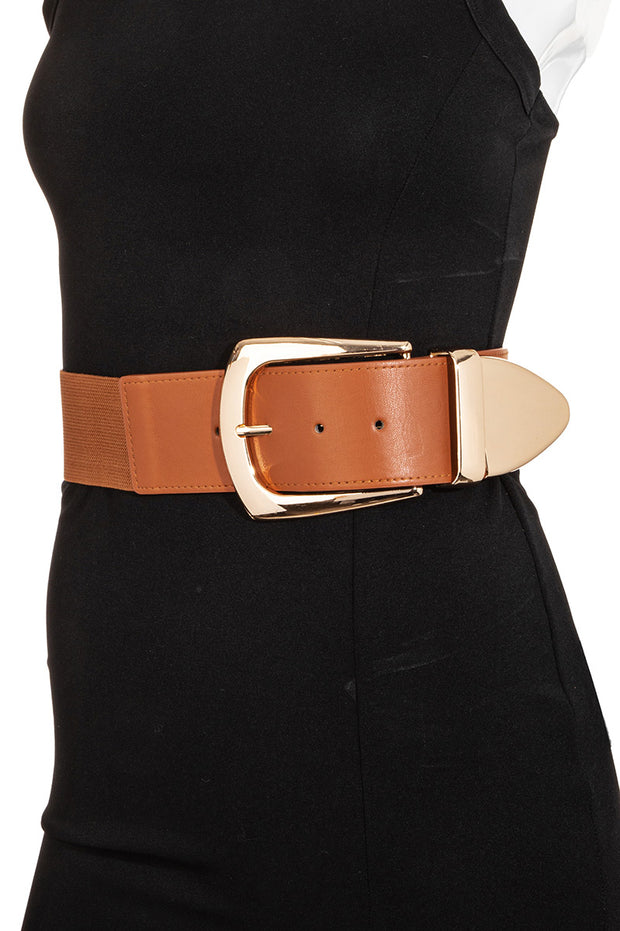 Stretchable Faux Leather Wide Waist Belt