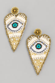 White Heart Eye Earrings