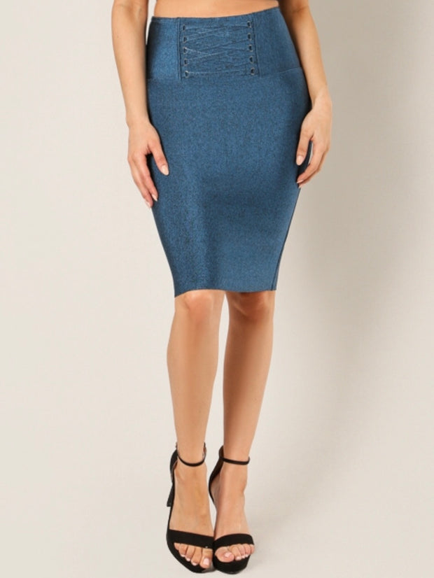 Lattice Waist Bandage Pencil Skirt