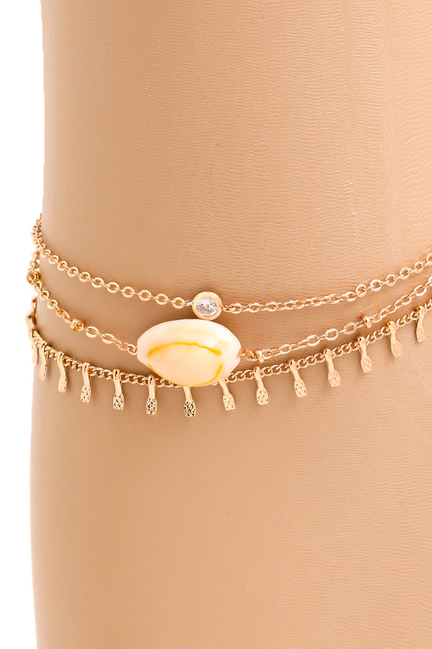 CZ Stud Dainty Layered Cowrie Shell Anklet