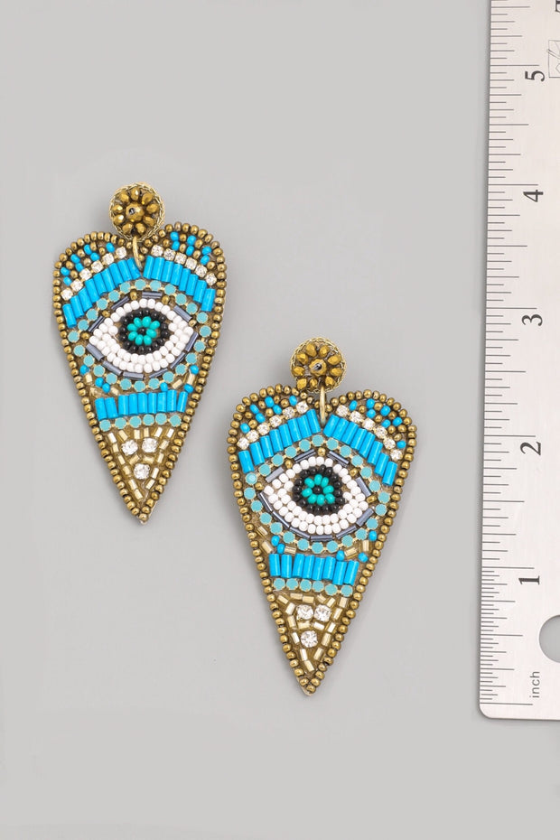 Blue Heart Eye Earrings
