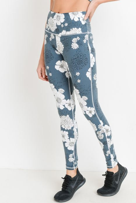 Highwaist Blue Poppy Print Full Leggings