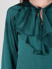 Hunter Green Satin Top