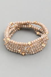 Taupe Multi Star Beaded Bracelet Set