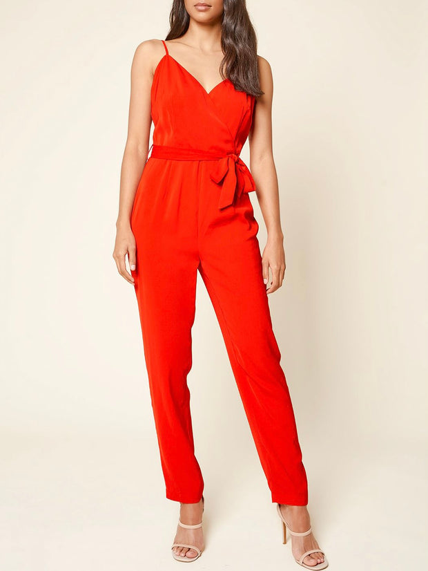 Red Belted Back Lace Jumpsuit
