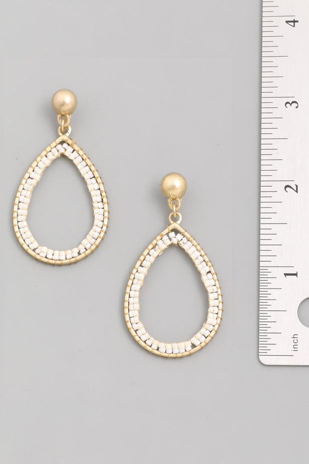 Beaded Straw Disc Drop Earrings