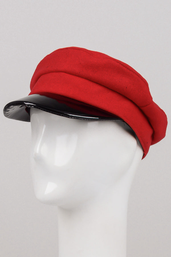 Everyday Patent Leather Trim Fiddler Cap