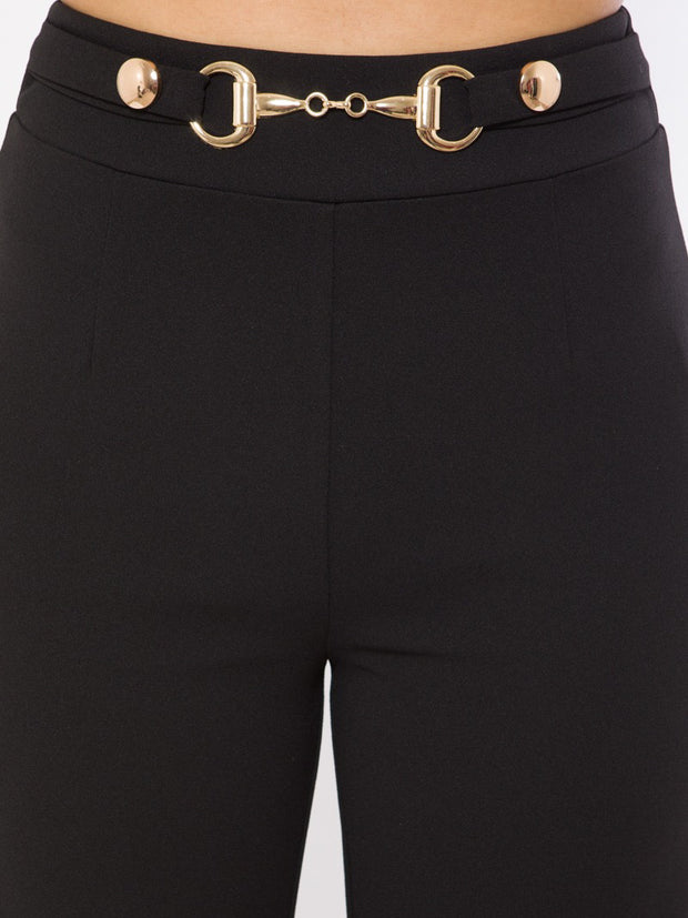 Black Button And Buckle Bottoms