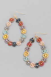 Flower Bead Teardrop Earrings