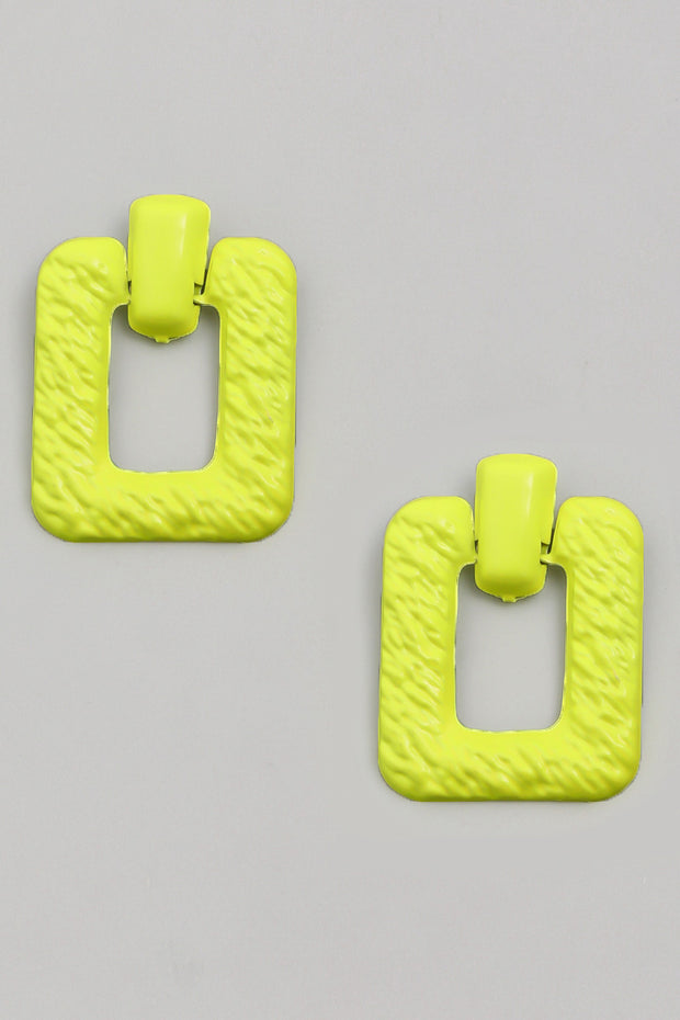 Neon Textured Metal Square Earrings