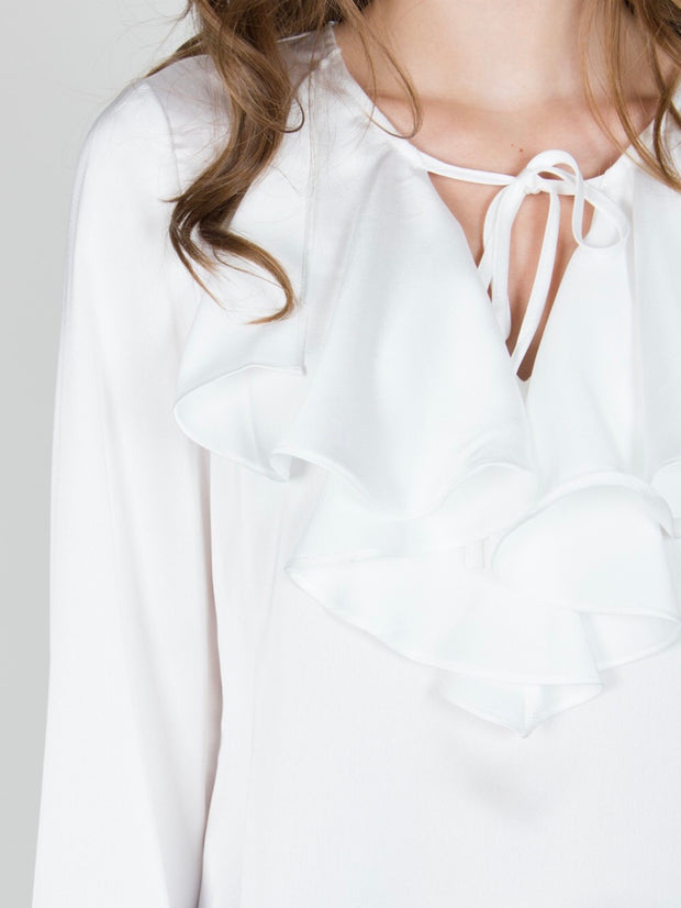Ivory Satin Ruffle Top