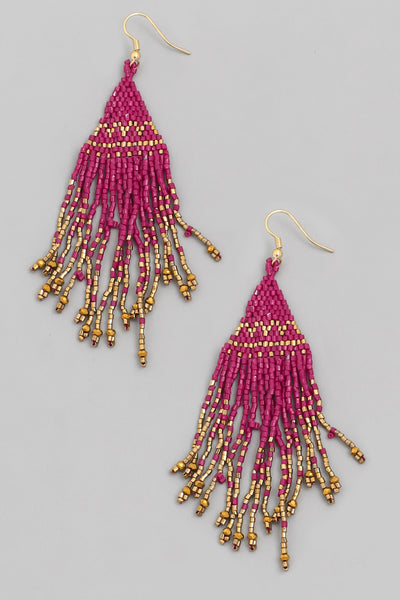 Mini Bead Triangle Fringe Earrings