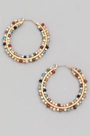 Circle Beaded Hoop Earrings
