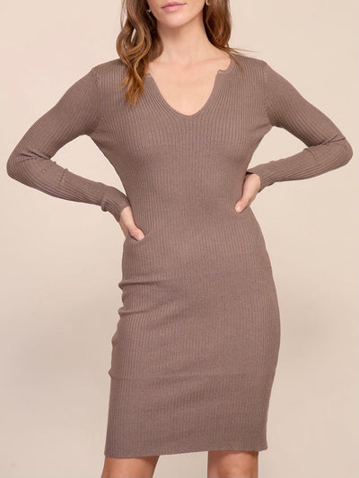 Mocha Solid V-Neck Dress