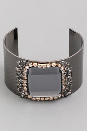 Large Square Faceted Stone Cuff Bracelet