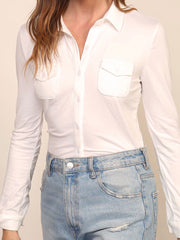 White Maisy Button Down Top