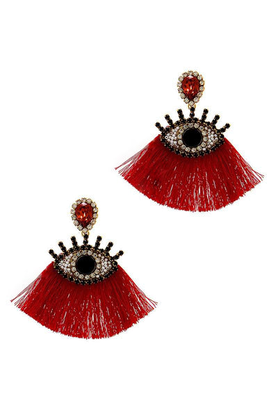Red Rhinestone Eye Earring