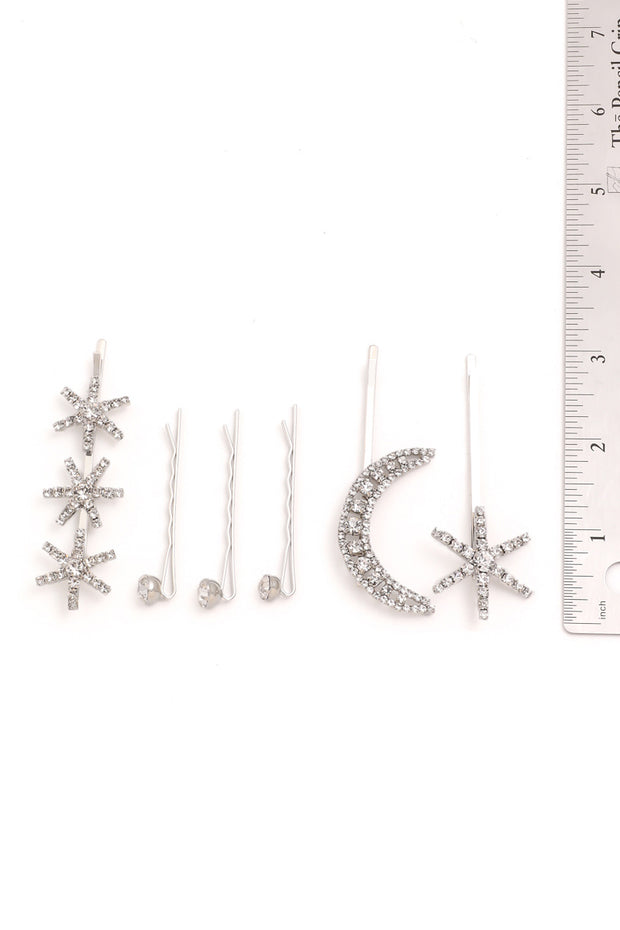 Crystal Moon And Star Hair Pin Set