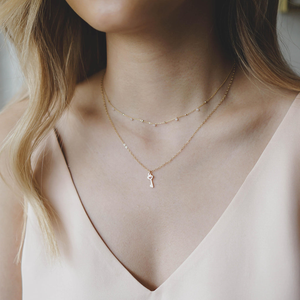 Dainty Heart Key Necklace - 14K Gold Filled