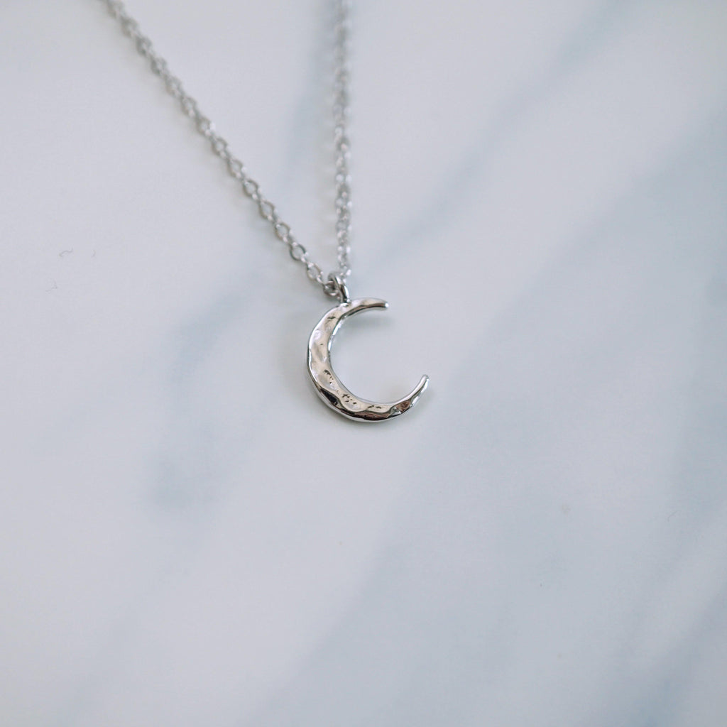 Hammered Crescent Moon Necklace - Studdedheartz