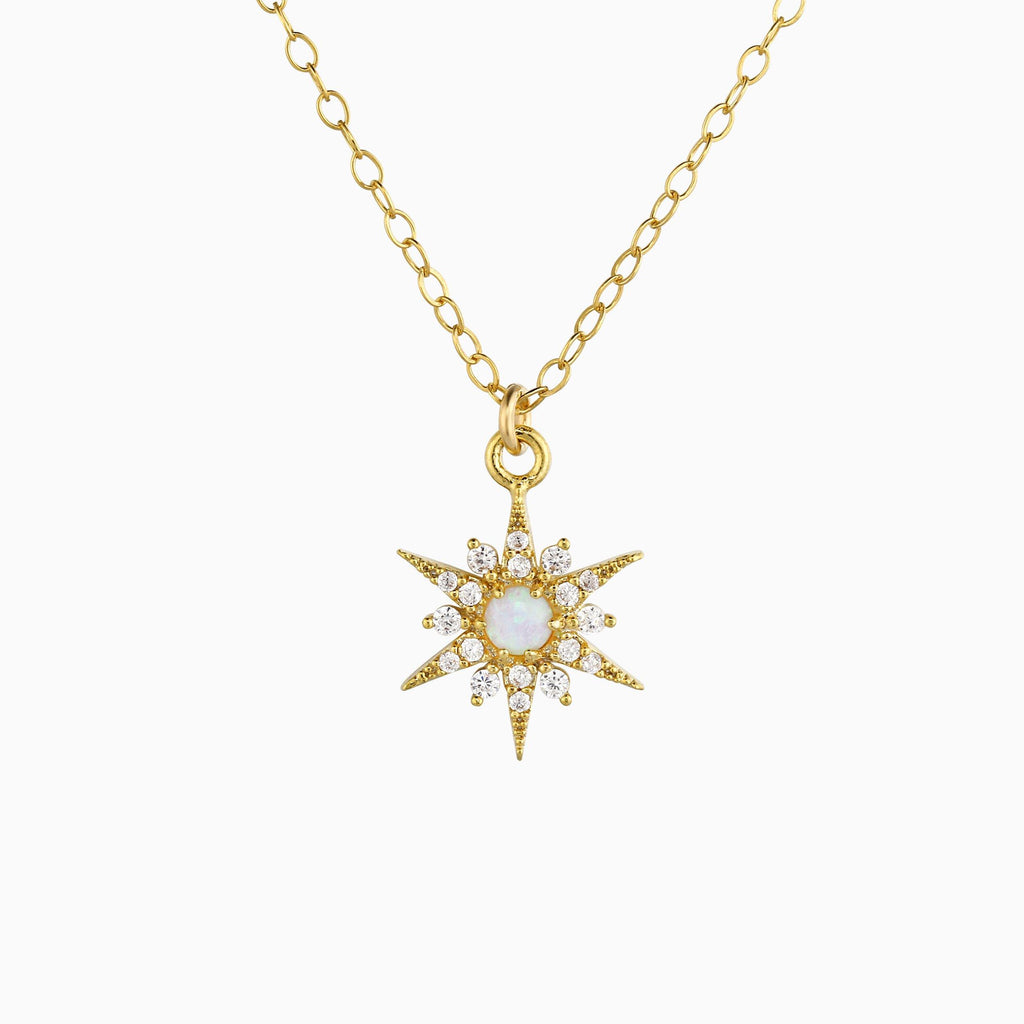 Gold Opal CZ Starburst Necklace - Studdedheartz