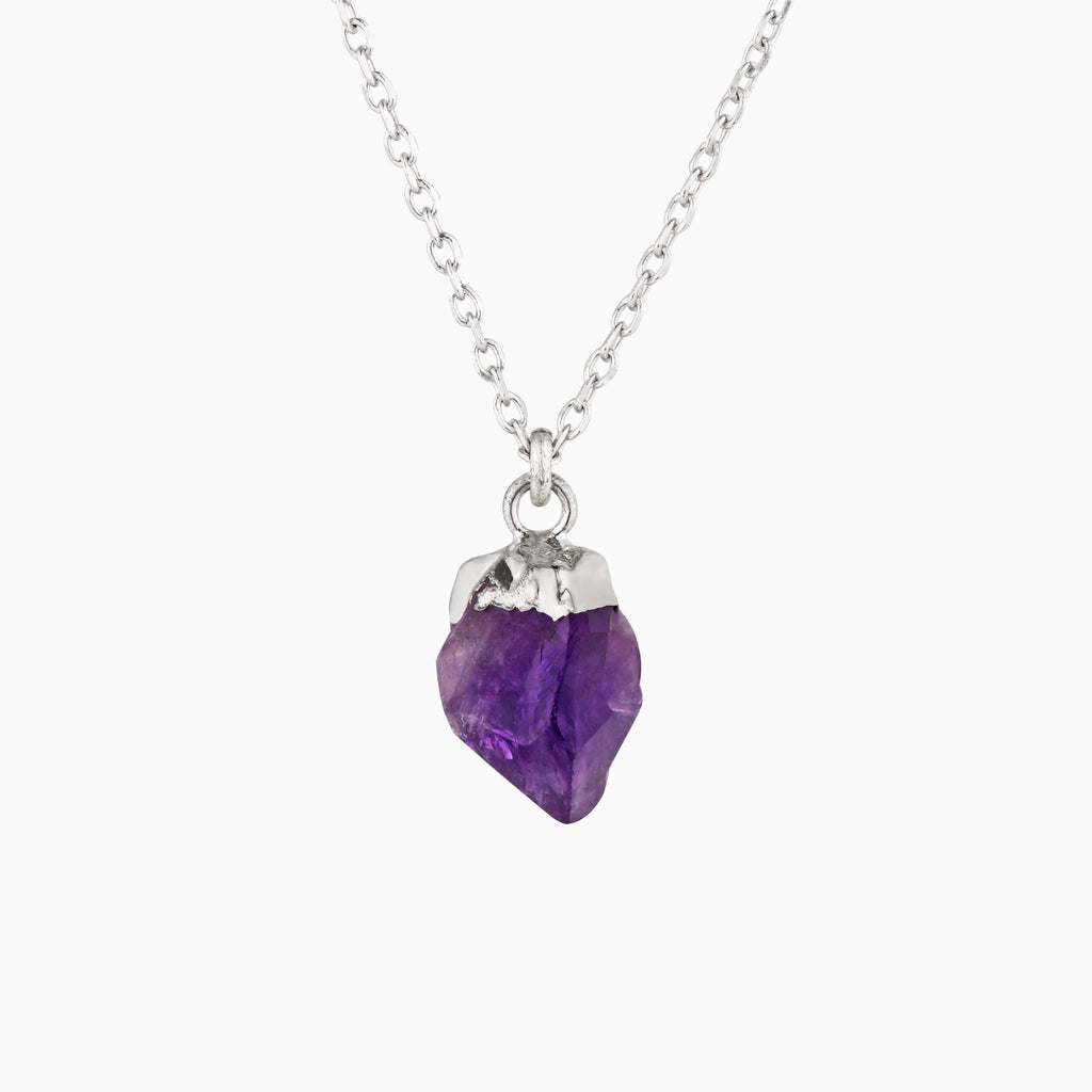 Natural Raw Amethyst Nugget Necklace - Studdedheartz