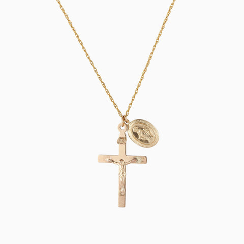 Holy Trinity Cross and Coin Necklace - 14K Gold Filled