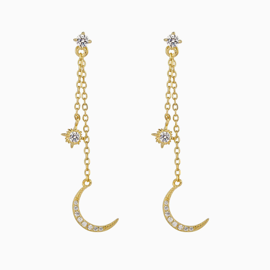 Moon and Starburst Paved Cubic Zirconia Dangle Drop Earrings