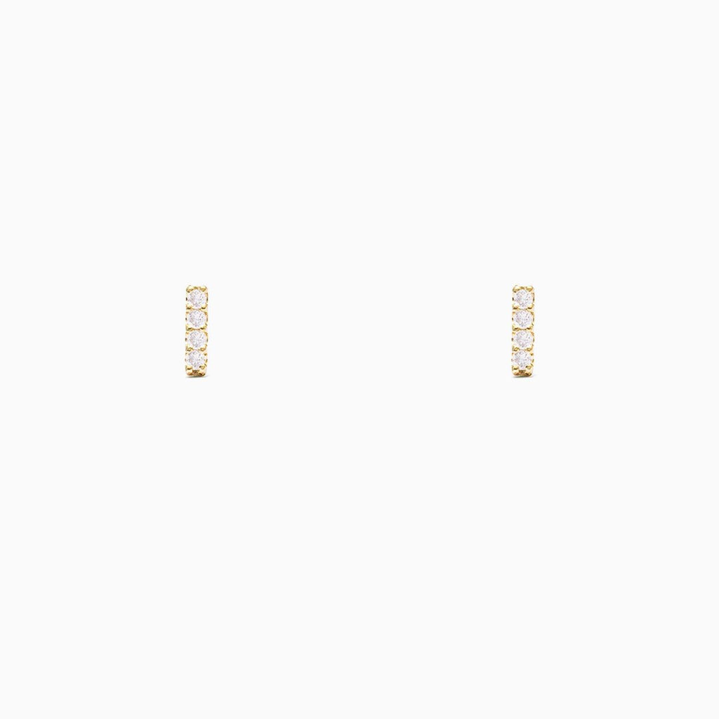 CZ Diamond Bar Stud Earrings - Gold