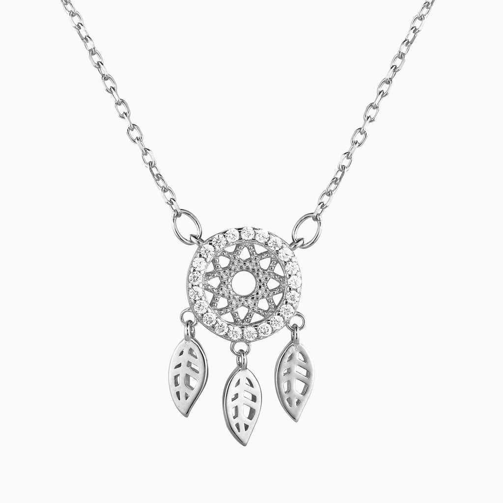 Gold Sparkling Dreamcatcher Necklace - 925 Sterling Silver