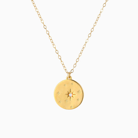 Gold Starry Night Opal Disk Necklace